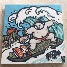 Load image into Gallery viewer, 'Sushi Surfer' Wood Print