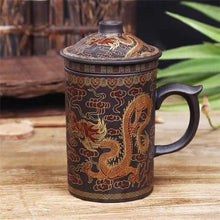 Load image into Gallery viewer, Retro Yixing Dragon Phenix Purple Clay Tea Mug with Lid and Tea Infuser Handmade Tea Cup Office Water Cup Gift Mug Drinkware