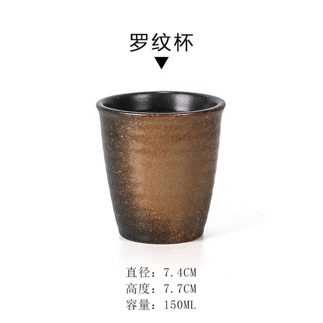 Japanese Ceramic Teacup Water Cup Retro Stoneware Coffee Soup Household Tea Cup Household Products Tableware Drink Cup Wine Set