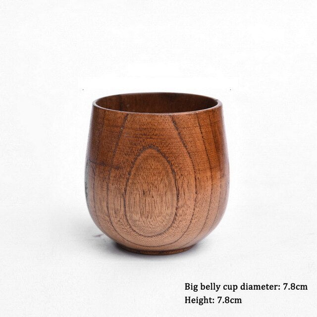 Natural Wooden Drinking Cup Japanese Style Tea Cup Reusable Tea Coffee Milk Wine Mug Heat Insulation Water Cup Tableware