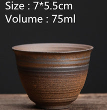 Load image into Gallery viewer, Handmade Coarse Pottery Water Cup Vintage Iron Glaze Tea Cup  Ceramic Teacup Drinkware Master Cup Tea Accessories Single Cup