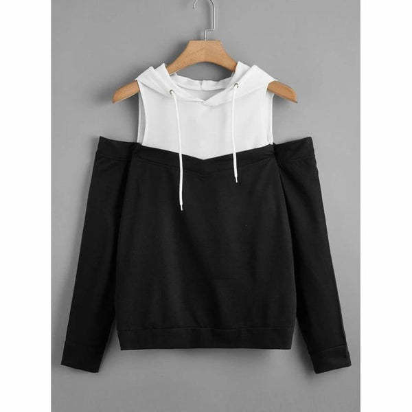 L-4XL Plus Szie Black and White Strapless Hoodie