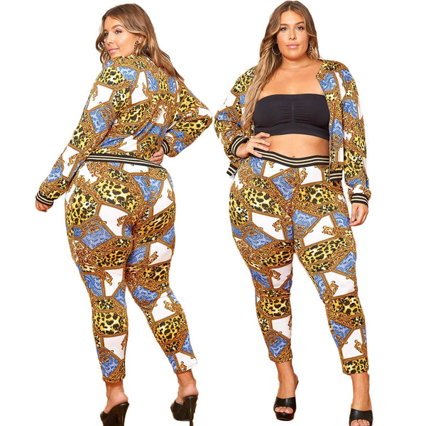 2XL-6XL Plus Size Casual Printing Suit