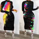 S-4XLCasual Graffiti Print Yellow Mid Calf Plus Size Dress