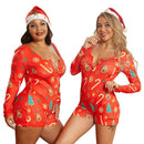 Short Red Christmas Homewear Plus Size One-piece Jumpsuit