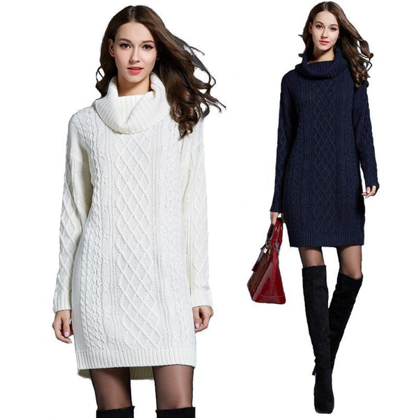 L-4XL Oversized turtleneck sweater dress