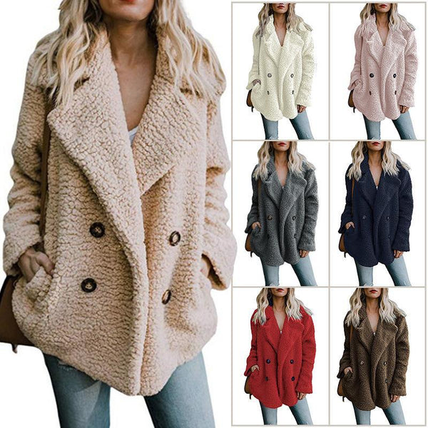 L-5XL Plus size Fleece Fluffy Jacket Shawl Collar Long Sleeve Buttoned Solid Winter Teddy Bear Coat