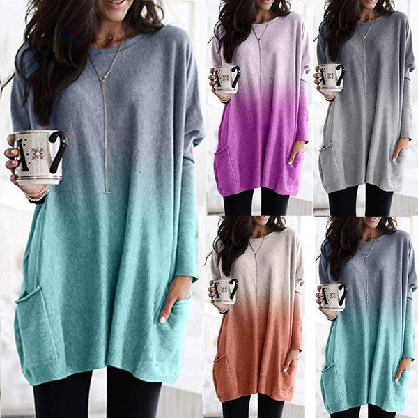 S-5XL Plus Size Gradient Pocket Dress