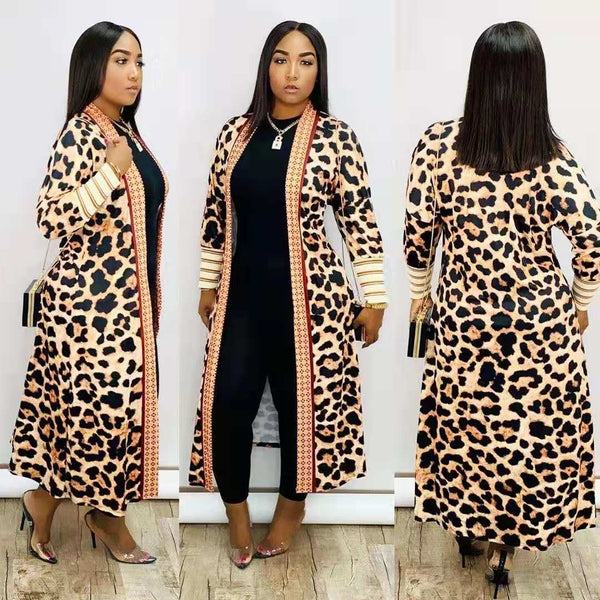 Casual Leopard Print Plus Size Coat