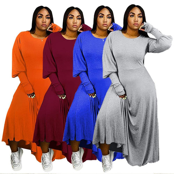 L-4XL Plus size Casual Puffed Sleeves Loose Orange Maxi Dress