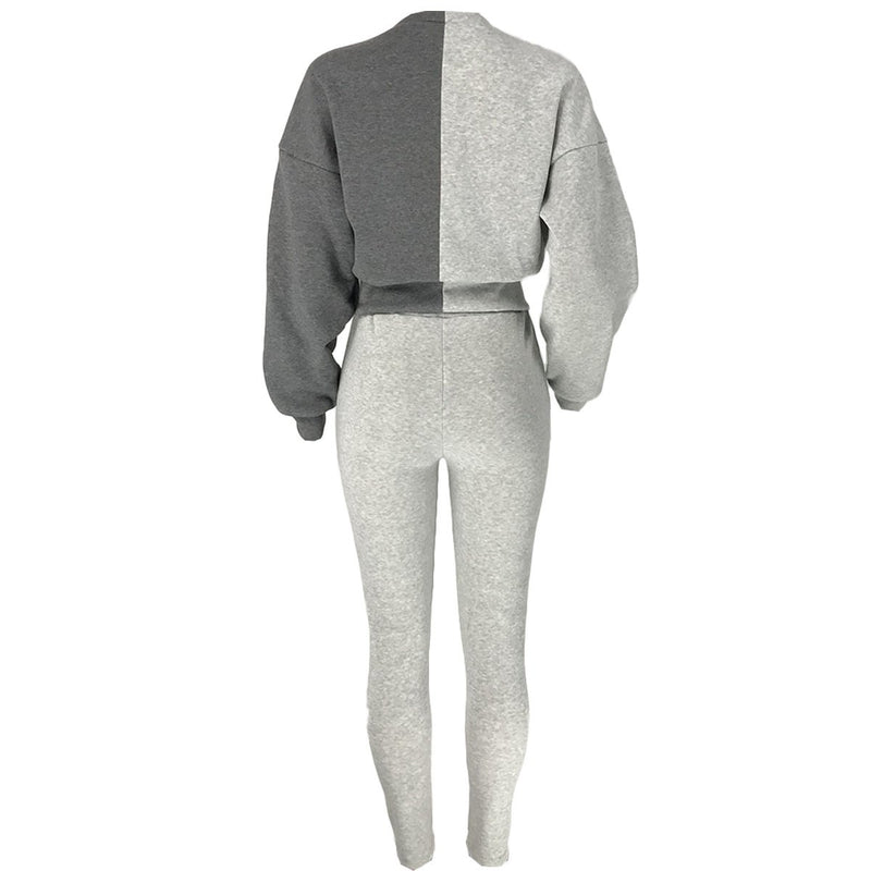 L-3XL Sportswear Bandage Design Patchwork Plus Size Two-piece Pants Set