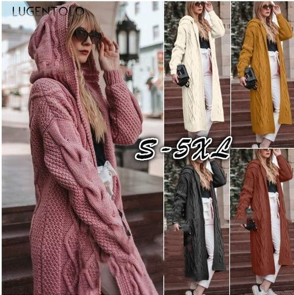 S-5XL Plus Size Sweater Knitted Cardigan Women Solid Long-sleeved Hooded Long Paragraph