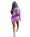 XL-5XL Casual Lip Print Purple Plus Size Two-piece Shorts Set