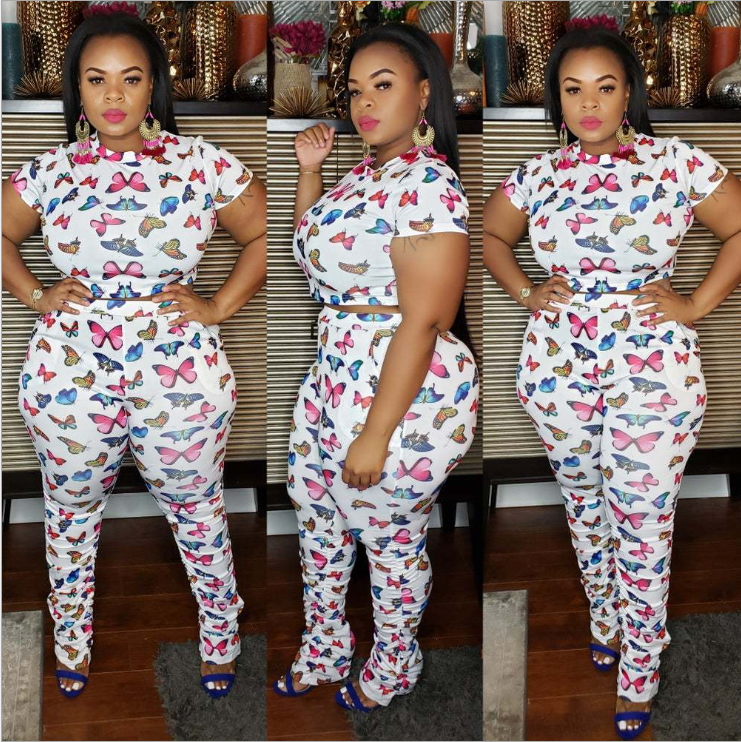 XL-5XL Casual Butterfly Print White Plus Size Two-piece Pants Set