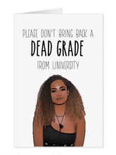 "Load image into Gallery viewer, Amber Love Island ""Dead Grade"" University Card"