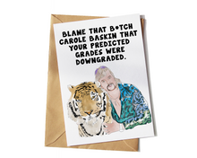 Load image into Gallery viewer, Joe Exotic Funny Exam Results Card