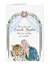 Load image into Gallery viewer, Joe Exotic Carole Baskin Wedding Cancelled Card