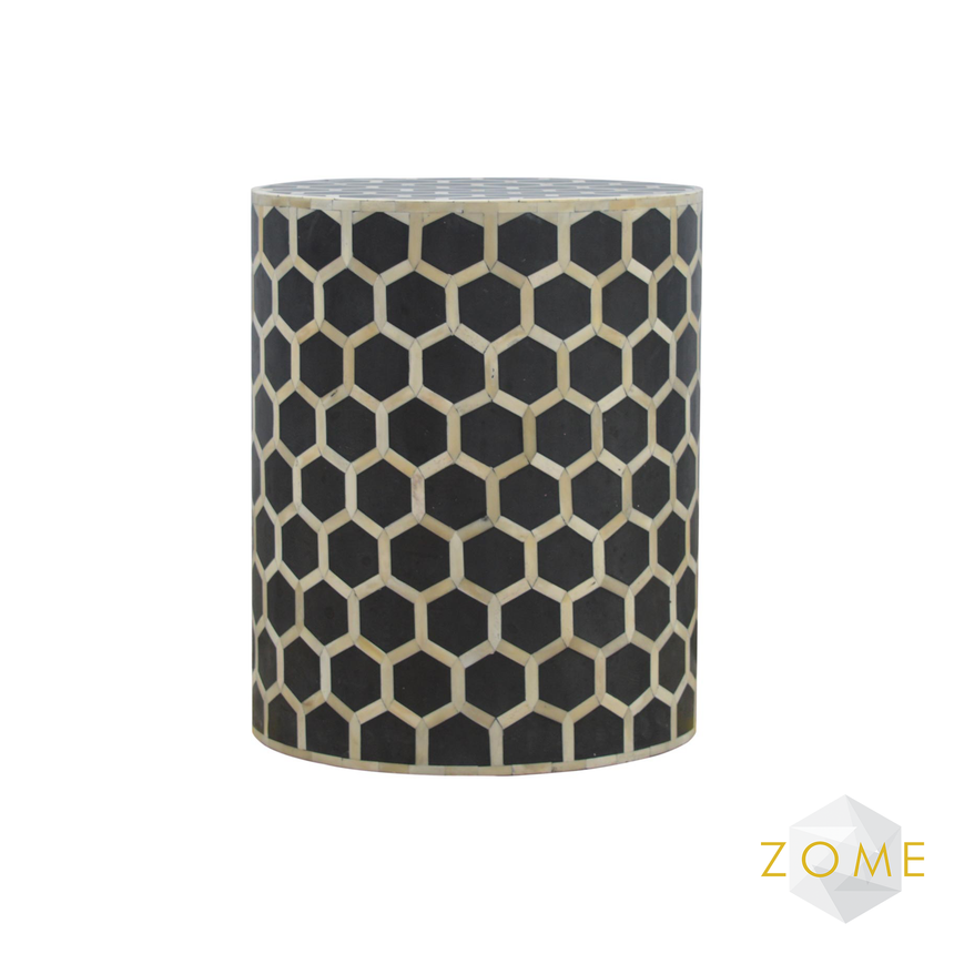 Adeo Bone Inlay Occasional Stool/Side Table - Zome Home ltd