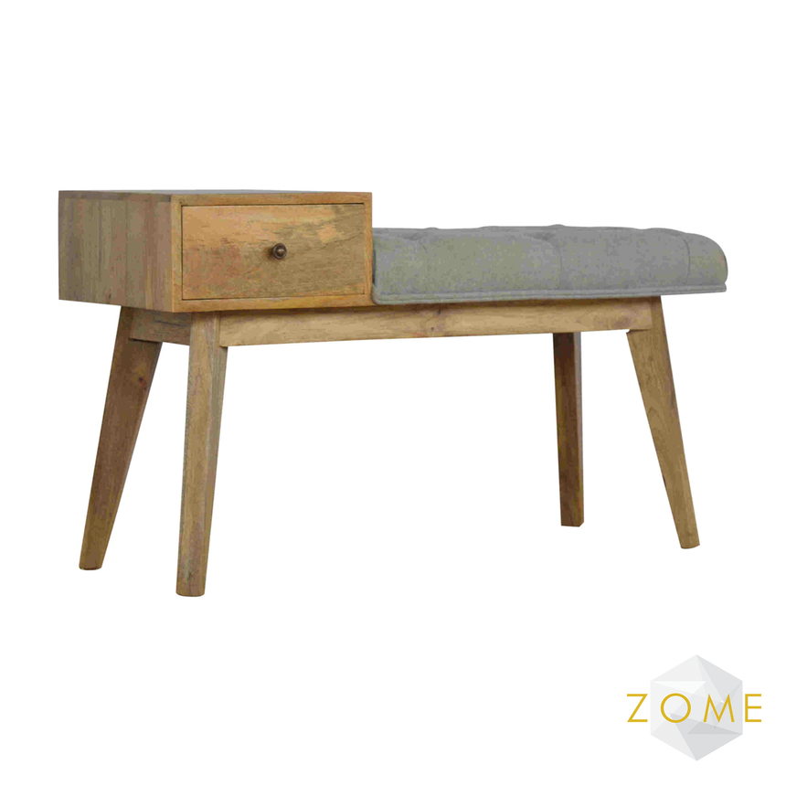 Allegro Tweed Bench with Drawer - Zome Home ltd