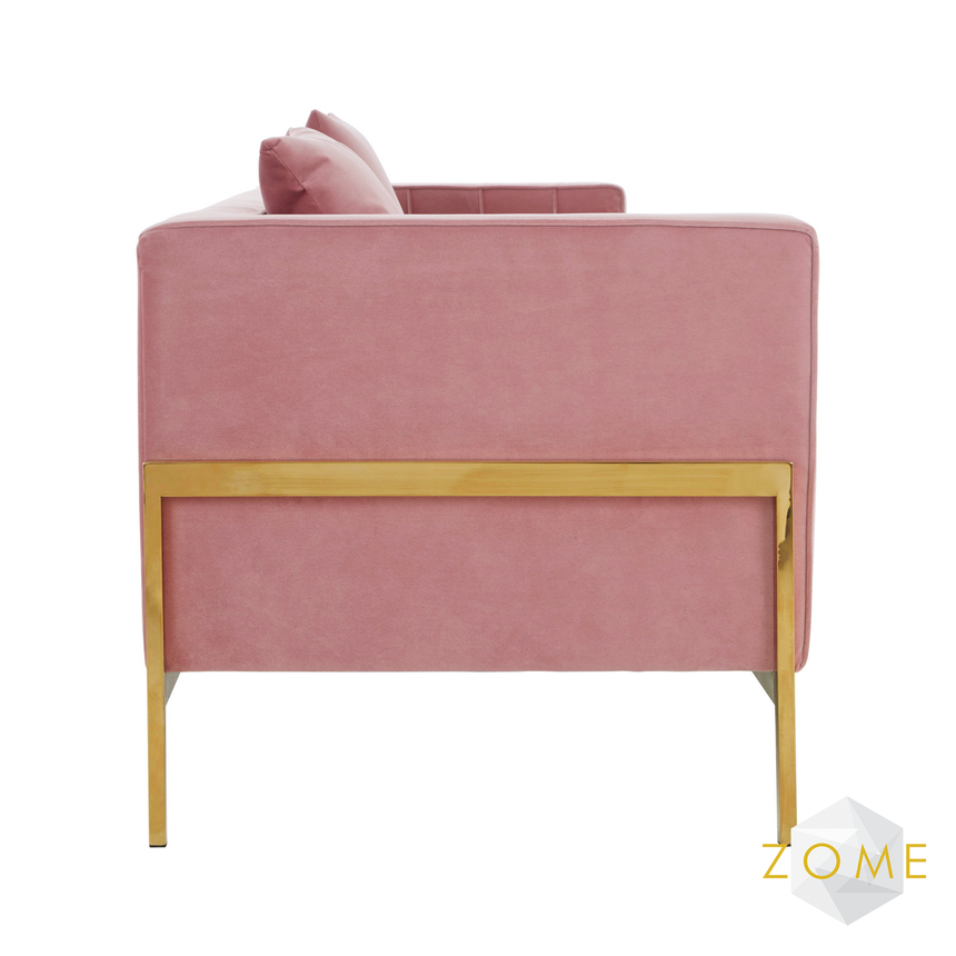 Axiom 3 Seater Velvet Sofa Pink - Zome Home ltd