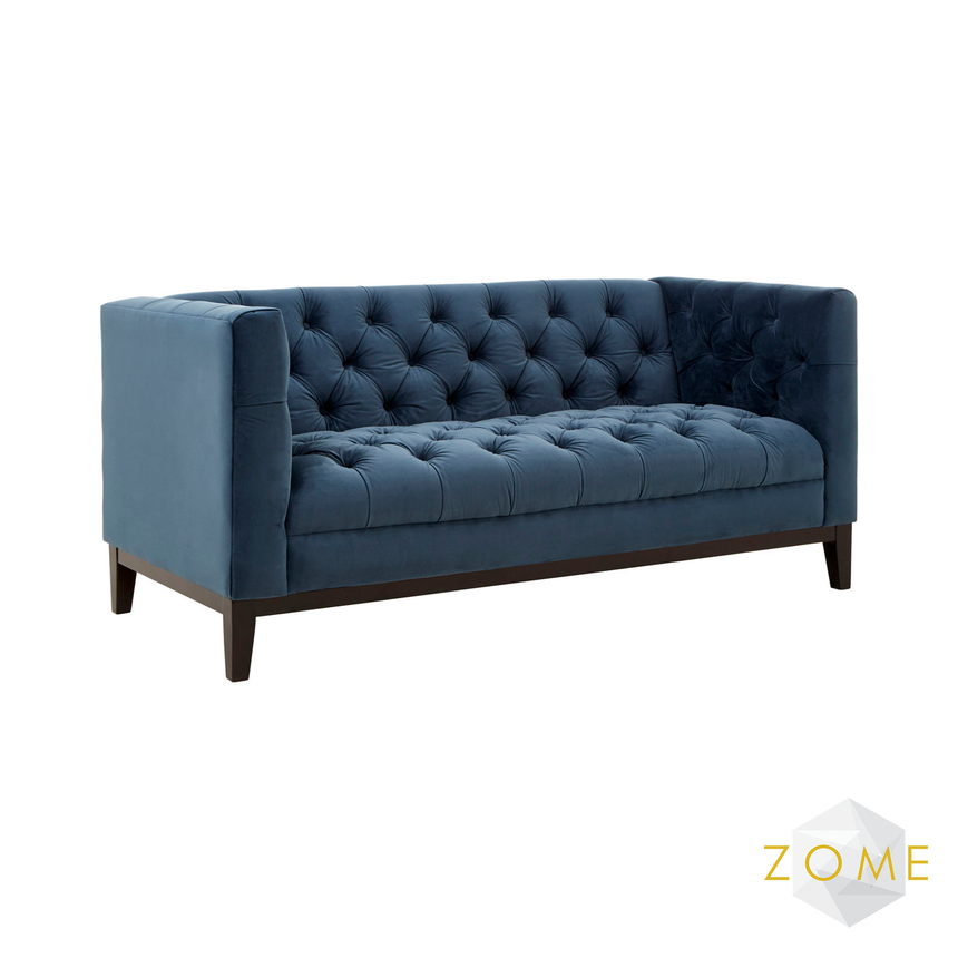Cielo Velvet 2 Seater Sofa Midnight Blue - Zome Home ltd