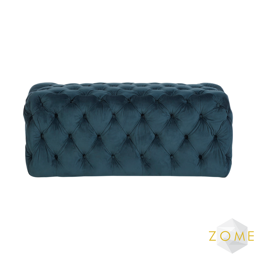 Cielo Velvet Footstool Midnight - Zome Home ltd