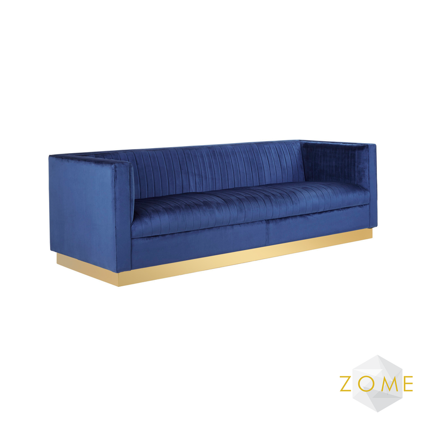 Empyrean Velvet 4 Seater - Deep Blue - Zome Home ltd