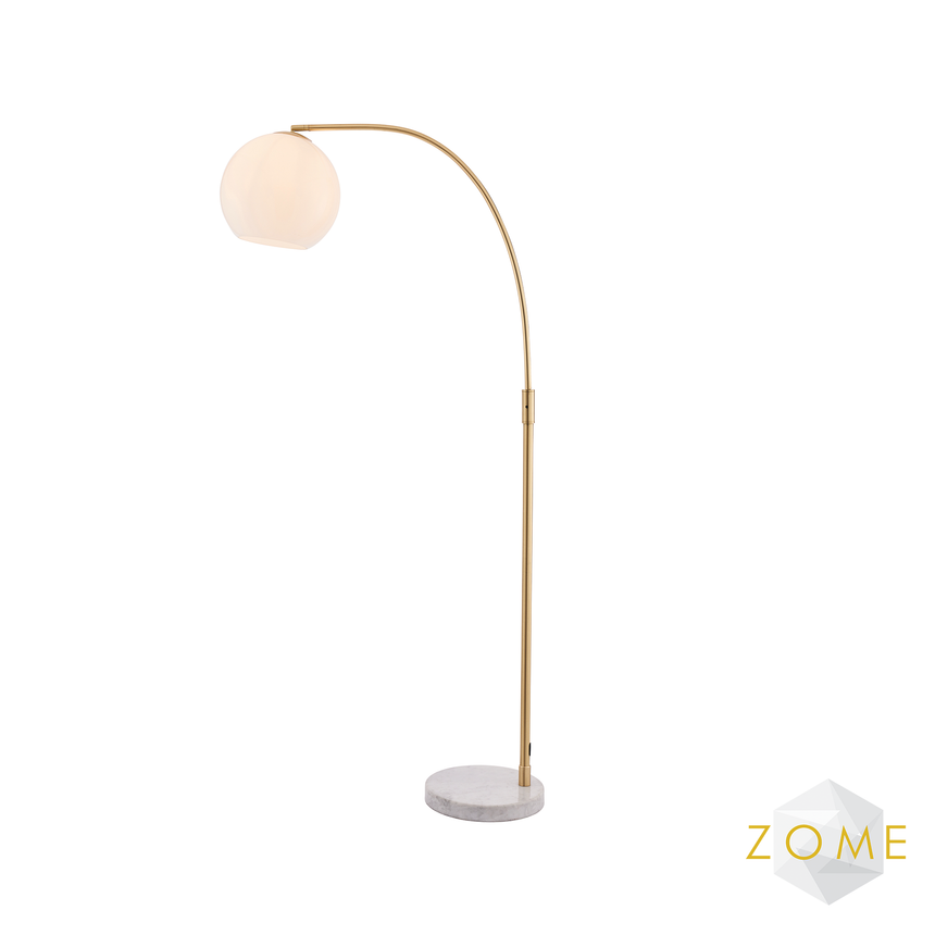 Globe Floor Lamp - White Marble and Brushed Gold - Zome Home ltd