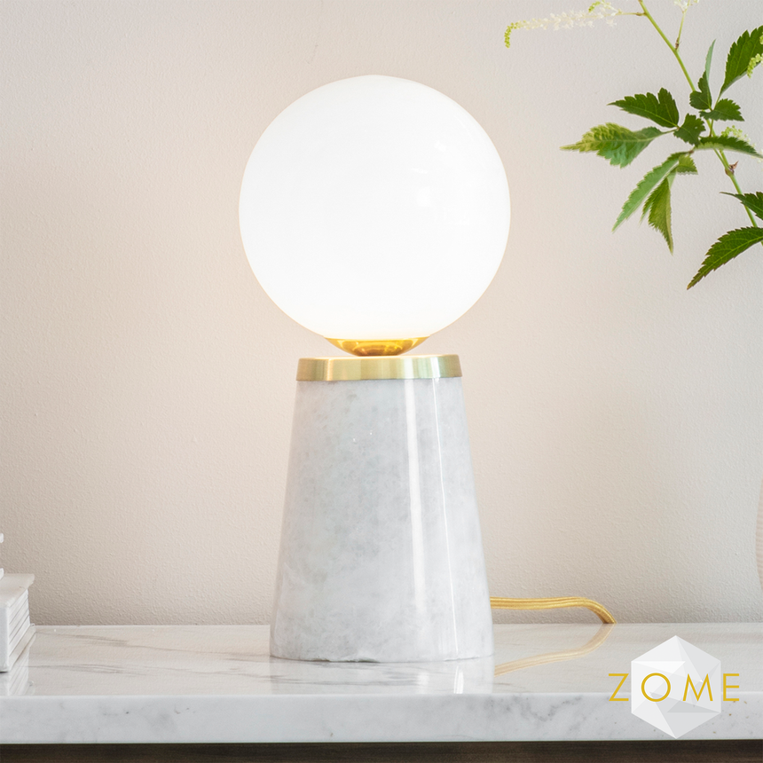 Globe Table Lamp - White Marble and Brushed Gold - Zome Home ltd