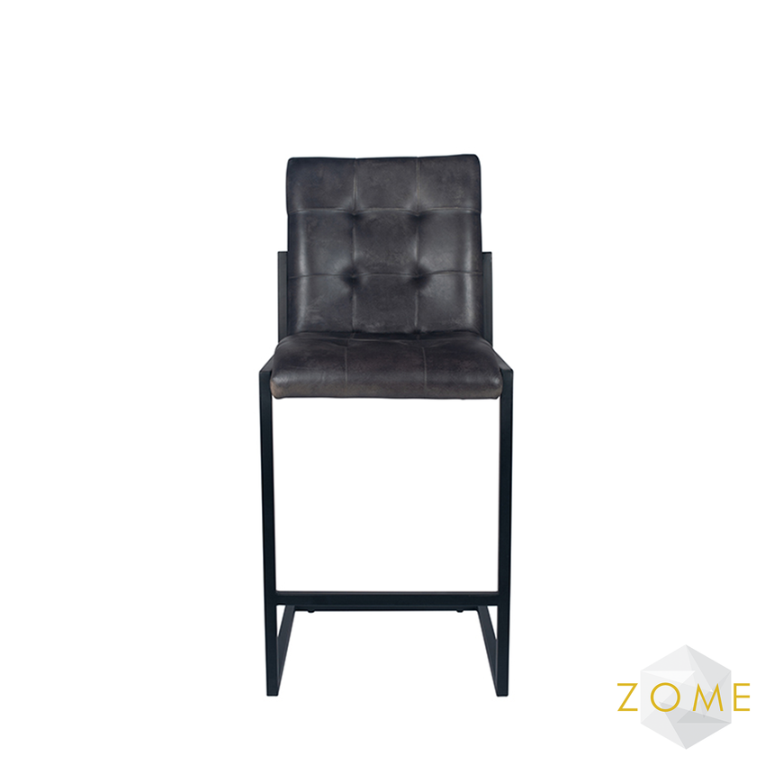 Urbis Leather Bar Stool - Steel Grey - Zome Home ltd