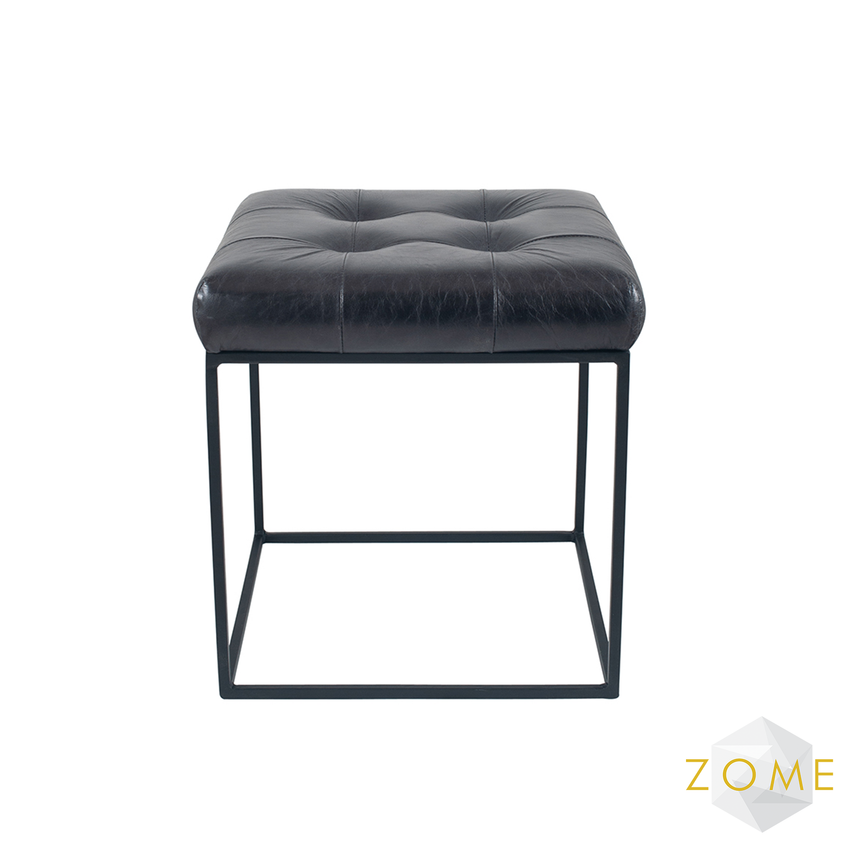 Urbis Leather Buttoned Stool - Steel Grey - Zome Home ltd