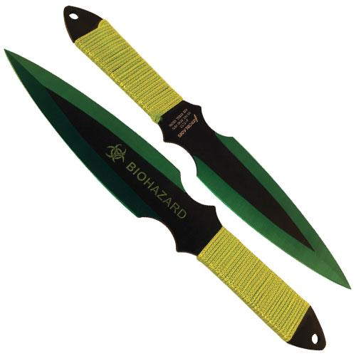 2 Piece Throwing Knife Green Color Biohazard
