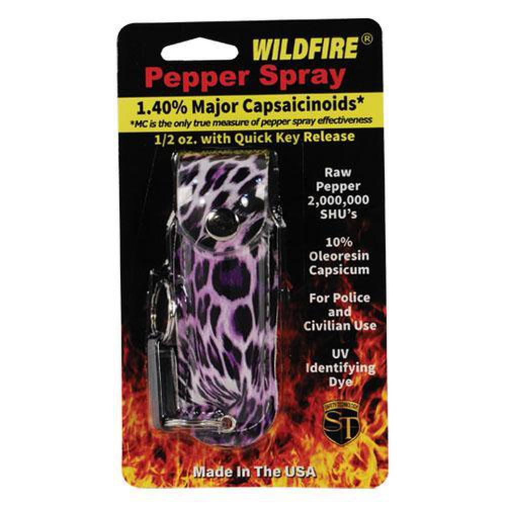 Wildfire Pepper Spray Fashion Leatherette Keychain Holster - .5 oz (1.4% MC)