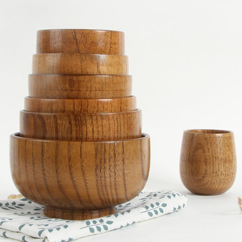 Wooden dining bowls