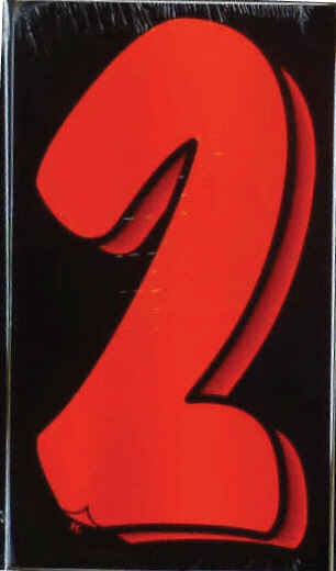 "Vinyl Numbers 7 1/2"" tall Flo Red Black"