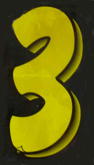 "Vinyl Numbers 7 1/2"" tall Yellow Black"