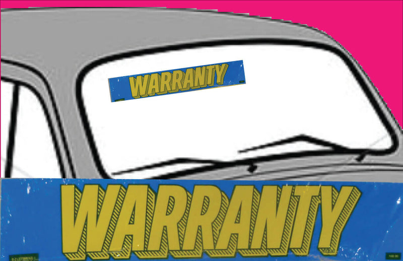 "Vinyl 14 1/2"" Slogans WARRANTY blue yellow"