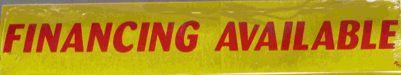 "Vinyl 14 1/2"" Slogans FINANCING AVAILABLE red yellow"