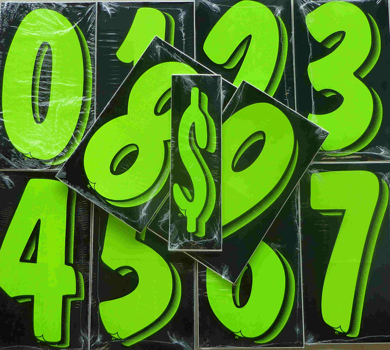 "Vinyl Numbers 7 1/2"" tall chartreuce-green black"