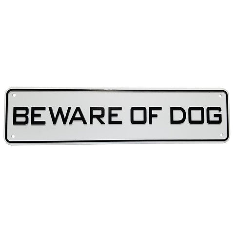 Beware Of Dog Sign Solid Plastic 12 X 3