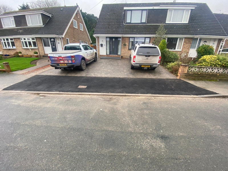 Block paving driveway and dropped kerb in Swanland