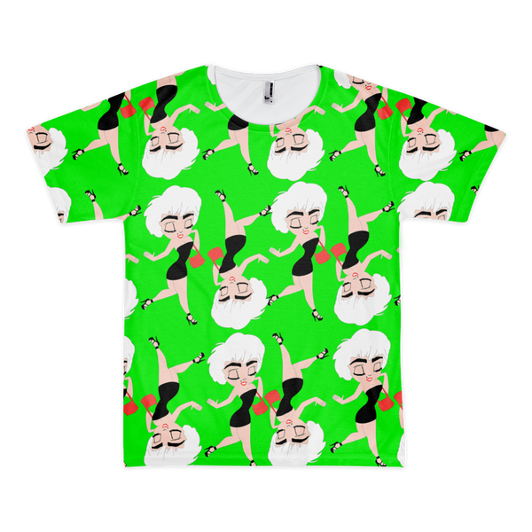 Who's That Girl All Over Print Tshirt Green