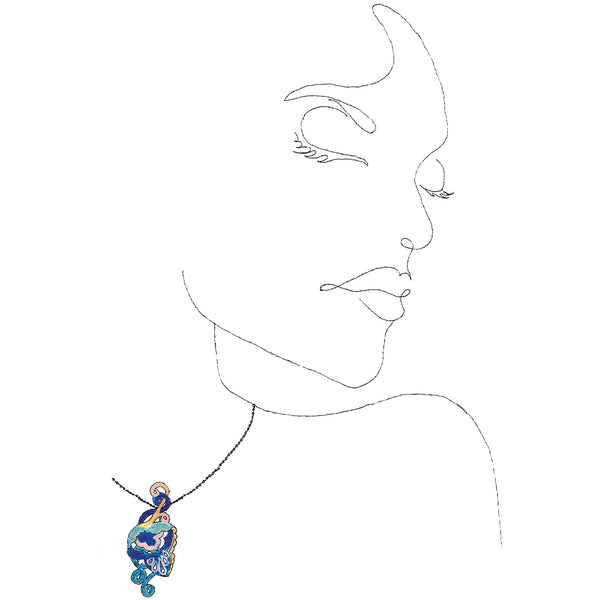 line drawing of a woman wearing the Close to Your Heart Necklace