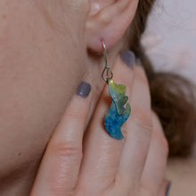 Load image into Gallery viewer, detail of model wearing Forged by Her Fire Earrings cerulean blue-sunshine yellow