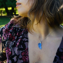 Load image into Gallery viewer, woman wearing the Her Radiance Renewed Necklace in indigo