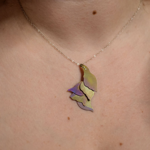 detail of She Wades with Grace Through Changing Tides Necklace