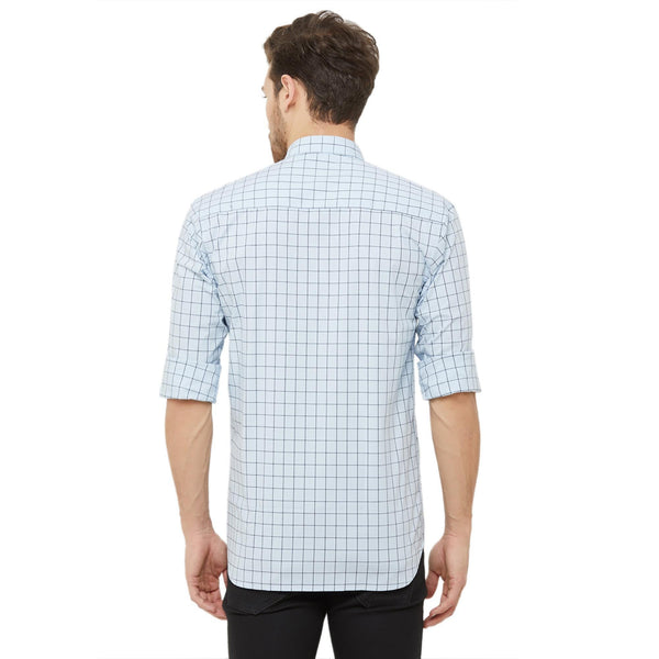 Men Sky Blue Slim Fit Checked Casual Shirt - Donzell