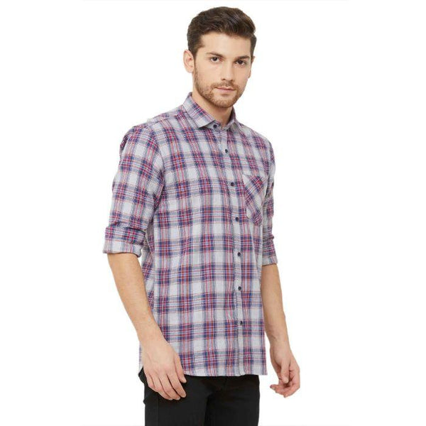 Men Grey Regular Fit Checked Casual Shirt - Donzell