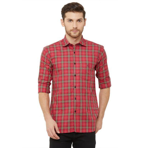 Men Red Regular Fit Checked Casual Shirt - Donzell