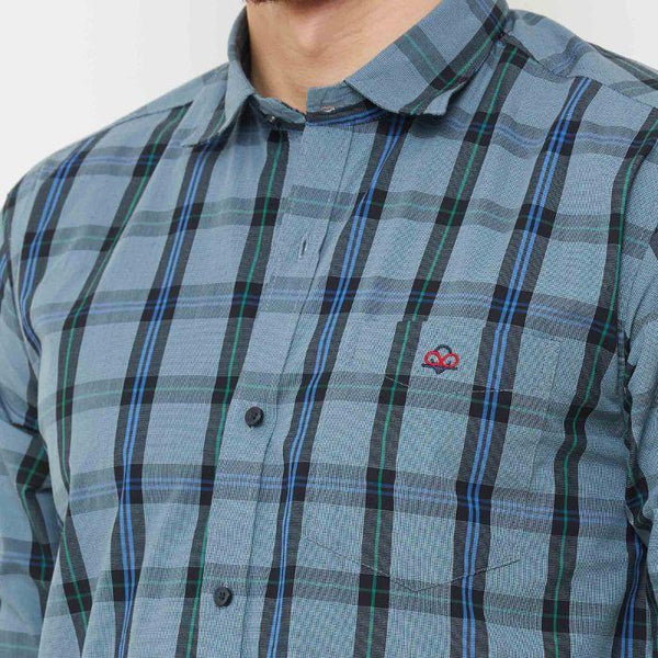 Men Blue Regular Fit Checked Casual Shirt - Donzell
